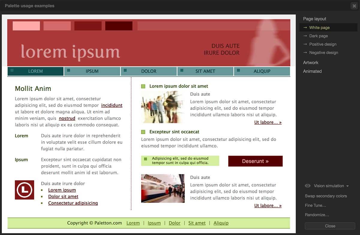 просмотр подборки цвета для вебстраницы