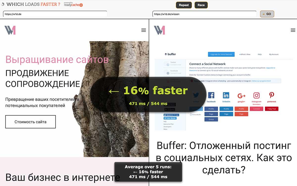 Одновременное сравнение загрузки двух сайтов